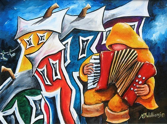 jellybean row saint-jean pêcheur jouant de l'accordéon