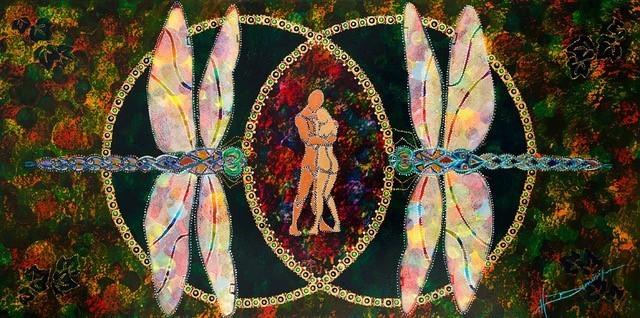 meet me in the middle peinture insectes personnes embrassantes au milieu