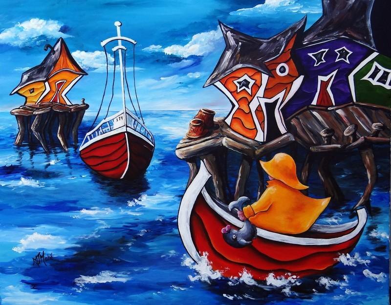 pêcheur bateau terre-neuve peinture